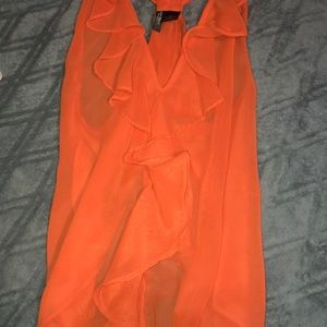 Ruffled orange dress top with open back